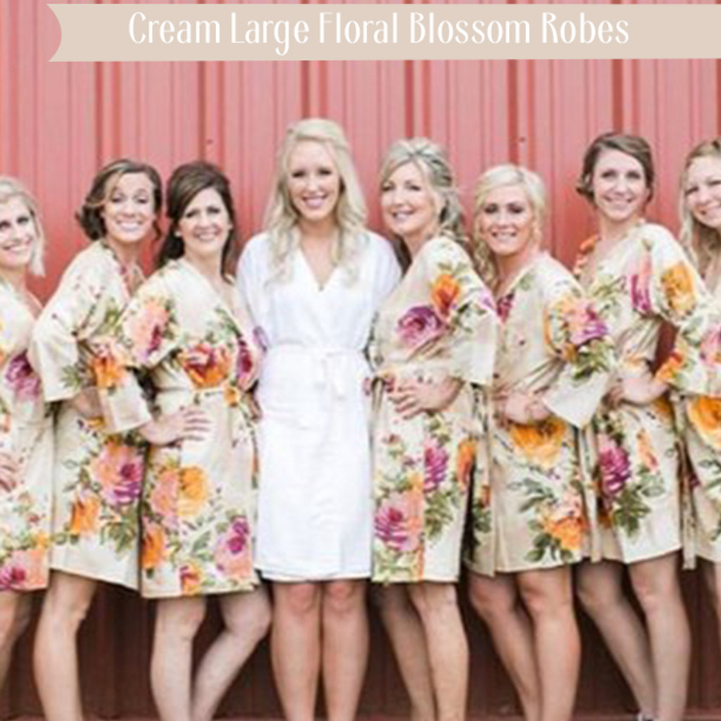 Cream Large Floral Blossom Robes