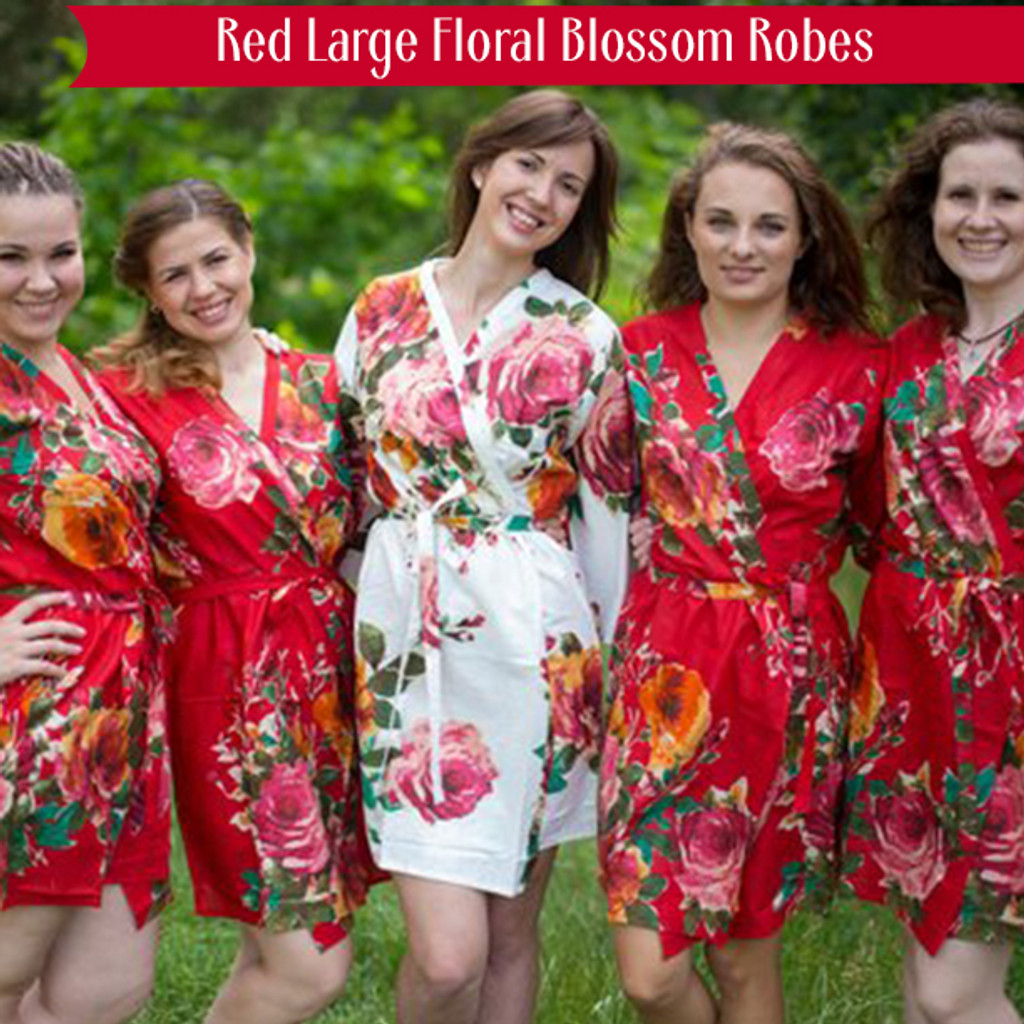 Red Large Floral Blossom Robes