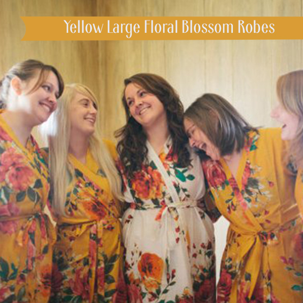 Yellow Large Floral Blossom Robes