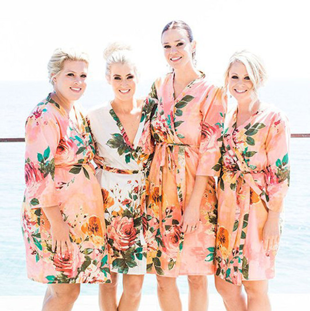 Set of 4 Bridesmaids Robes in Coral Large Floral Blossom - Floral wedding Robes