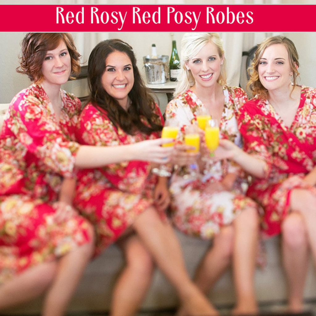 Set of 5 Bridesmaids Robes in Navy Blue Red Rosy Posy- Floral wedding Robes