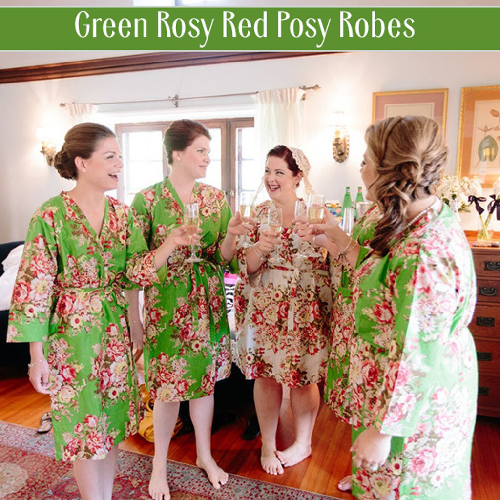 Set of 6 Bridesmaids Robes in Navy Blue Red Rosy Posy- Floral wedding Robes
