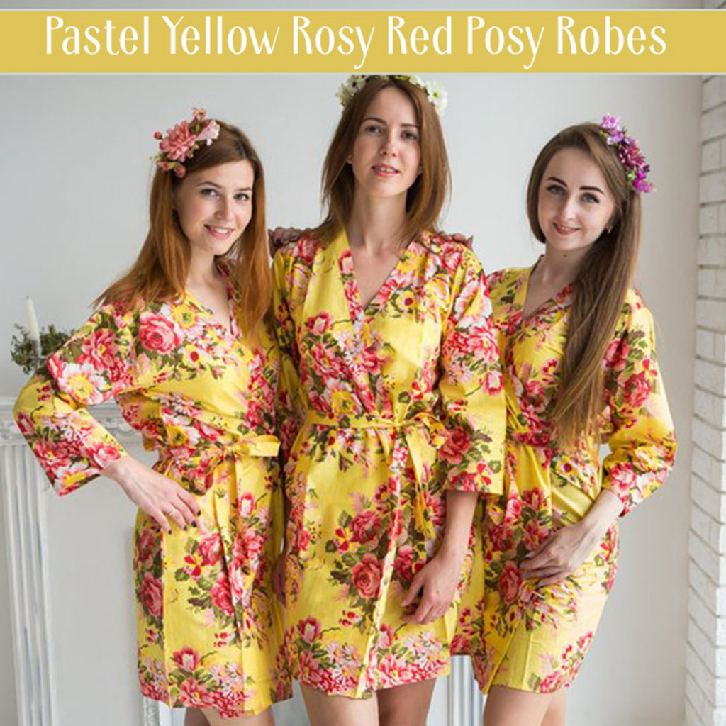 Set of 3 Bridesmaids Robes in Navy Blue Red Rosy Posy- Floral wedding Robes
