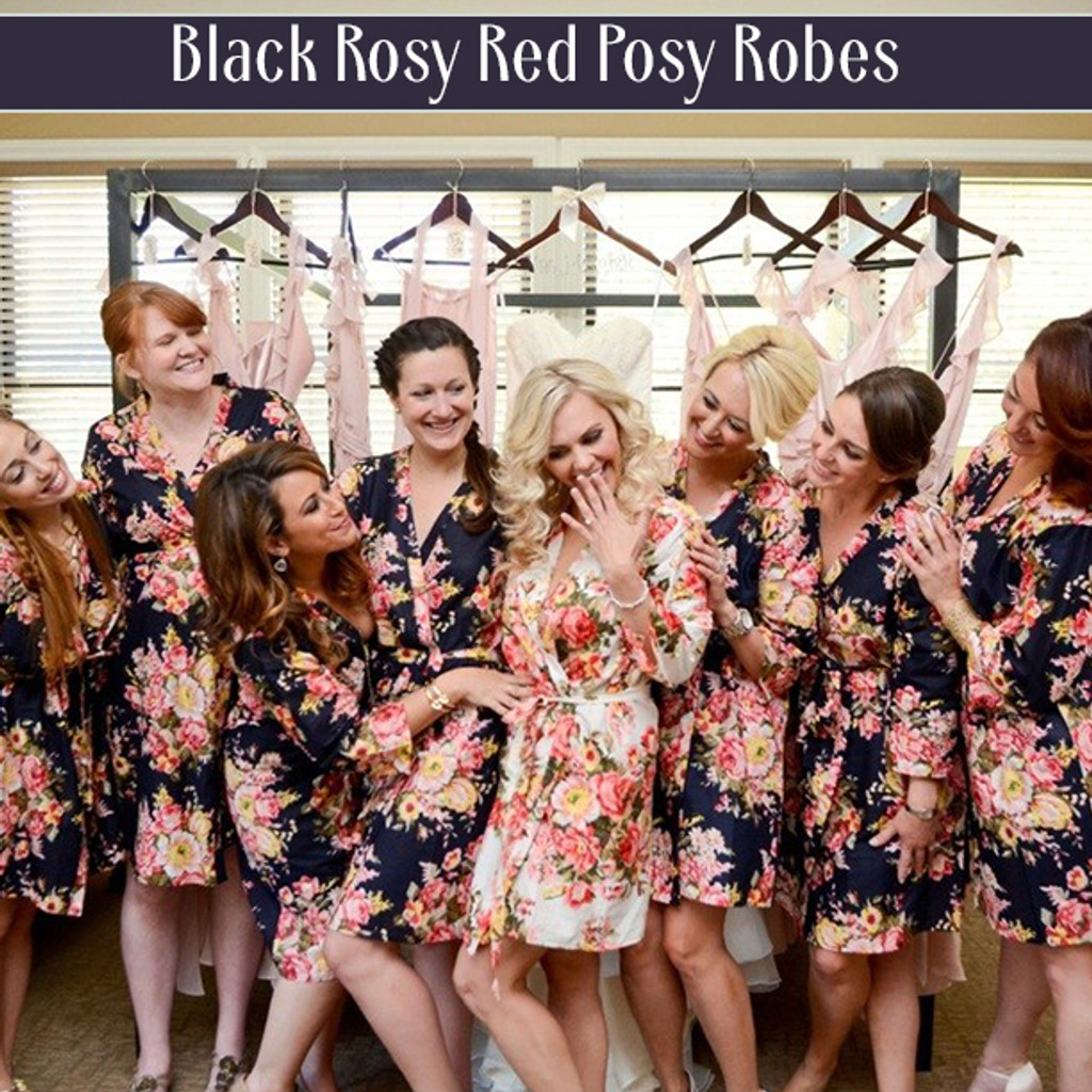 Set of 7 Bridesmaids Robes in Navy Blue Red Rosy Posy- Floral wedding Robes