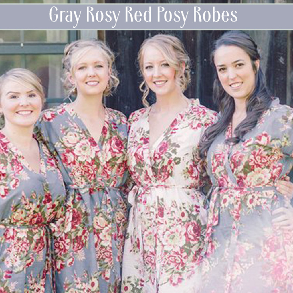 Set of 4 Bridesmaids Robes in Navy Blue Red Rosy Posy- Floral wedding Robes
