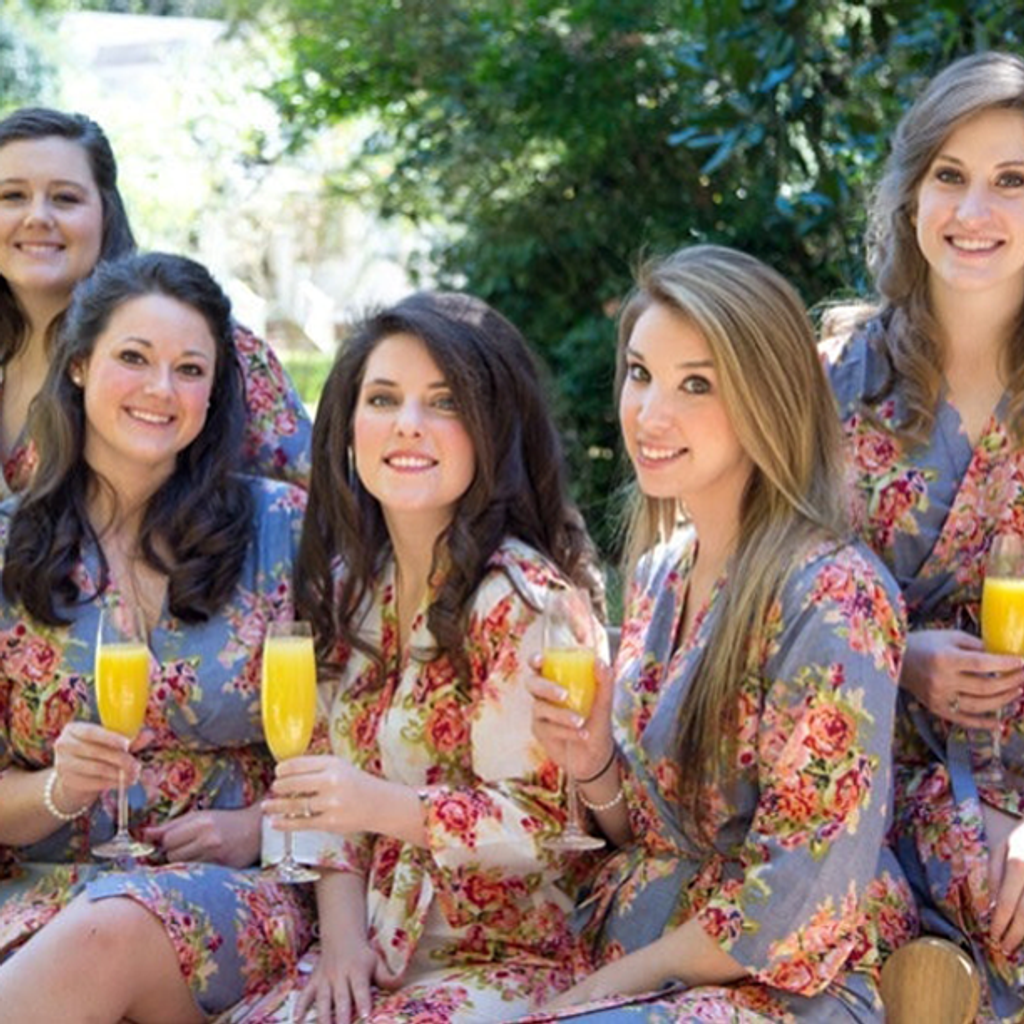 Set of 5 bridesmaids robes in Gray Floral Posy- Floral Wedding Robes