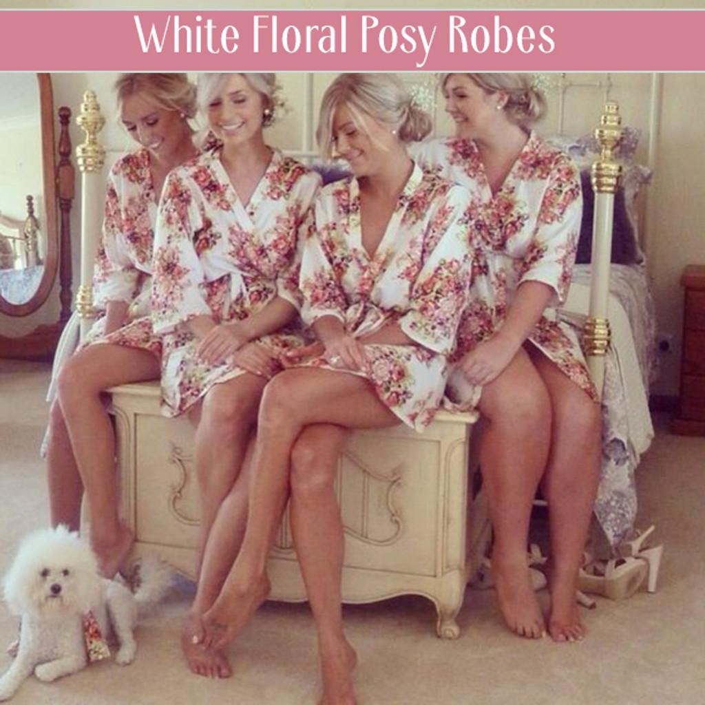 Gray Floral Posy Set of Bridesmaids Robes