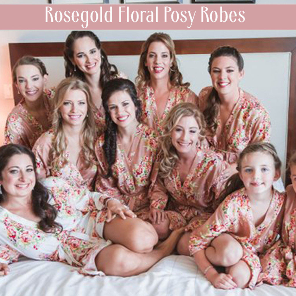 Rosegold Floral Posy Robes
