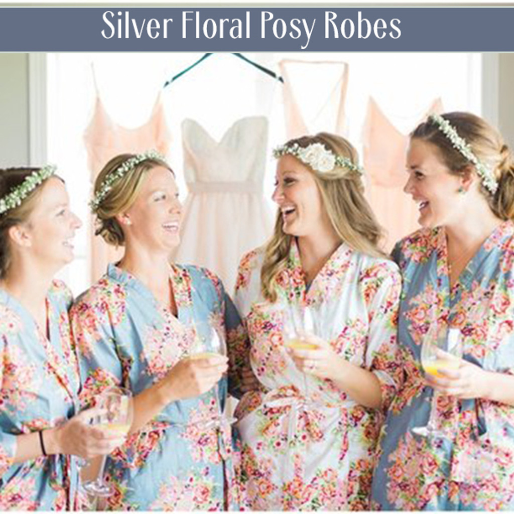 Silver Floral Posy Robes