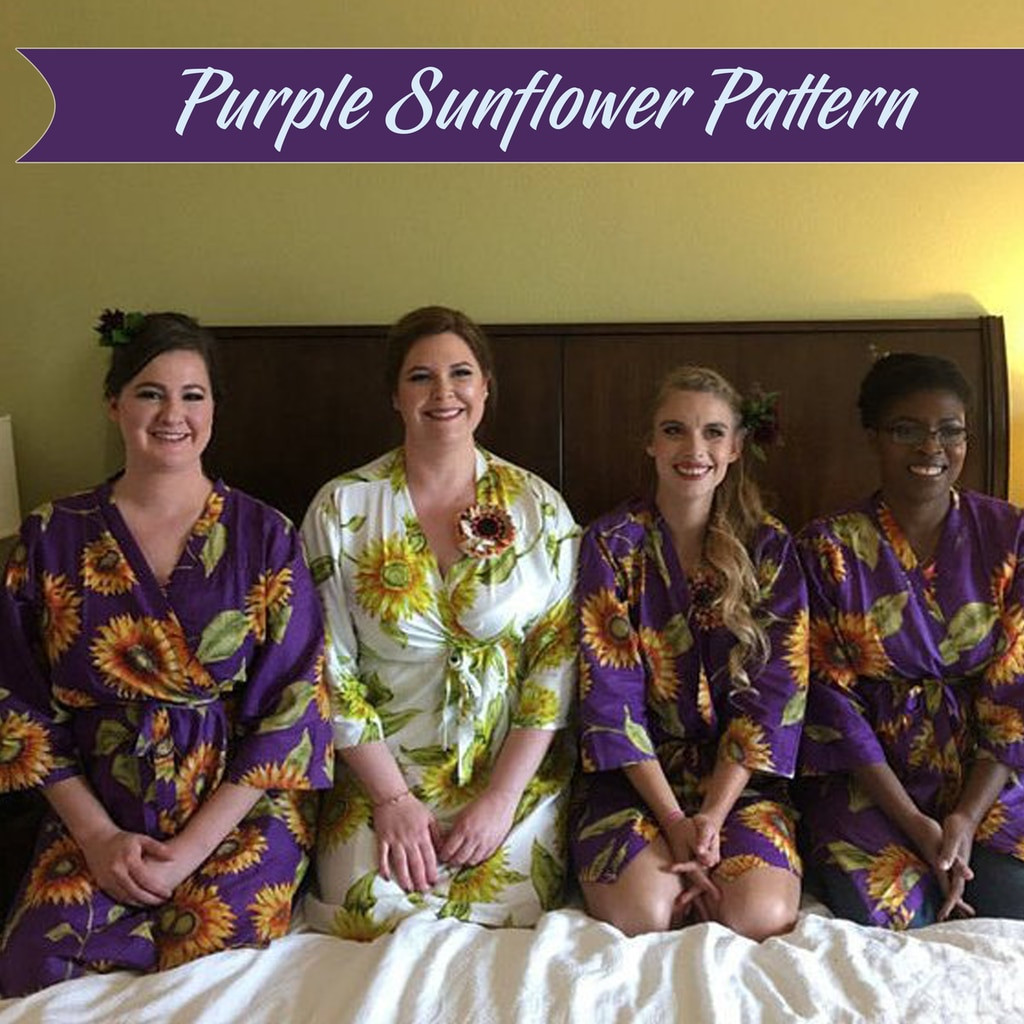 Sunflower wedding theme robe sets