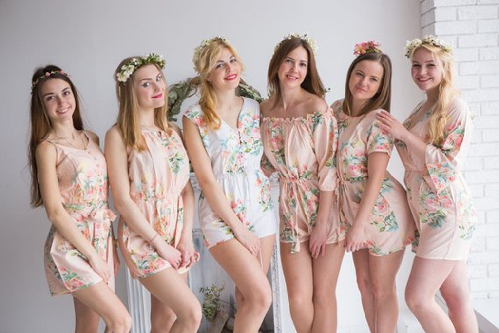 Set of 6 Bride and Bridesmaids  rompers
