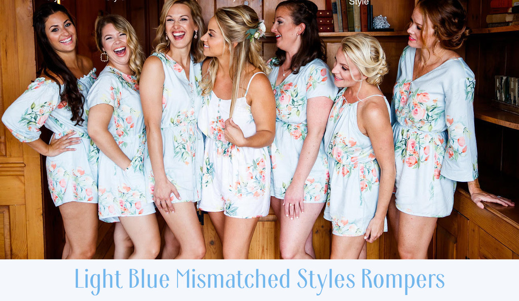 Blush Halter Style Dreamy Angel Song Bridesmaids Rompers Set