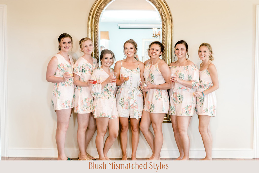 Silver Mismatched Styles Dreamy Angel Song Bridesmaids Rompers Set