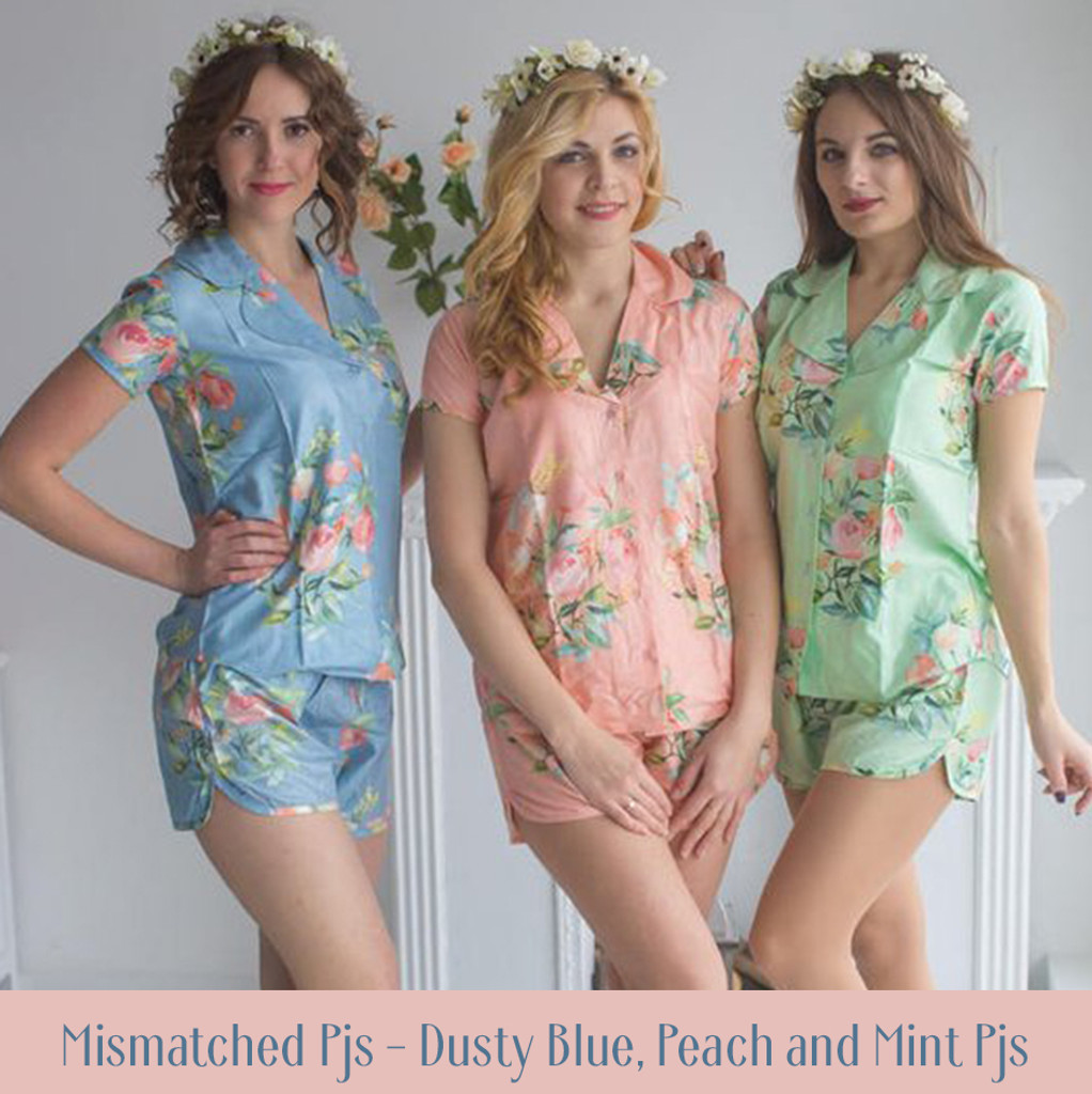 Dusty Blue Notched Collar Style PJs in Dreamy Angel Song Pattern