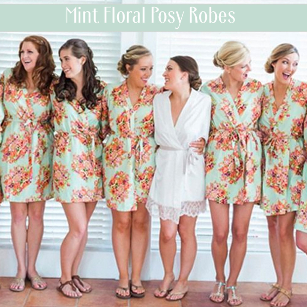 Set of 6 Bridesmaids Robes- Floral Posy in Eggplant