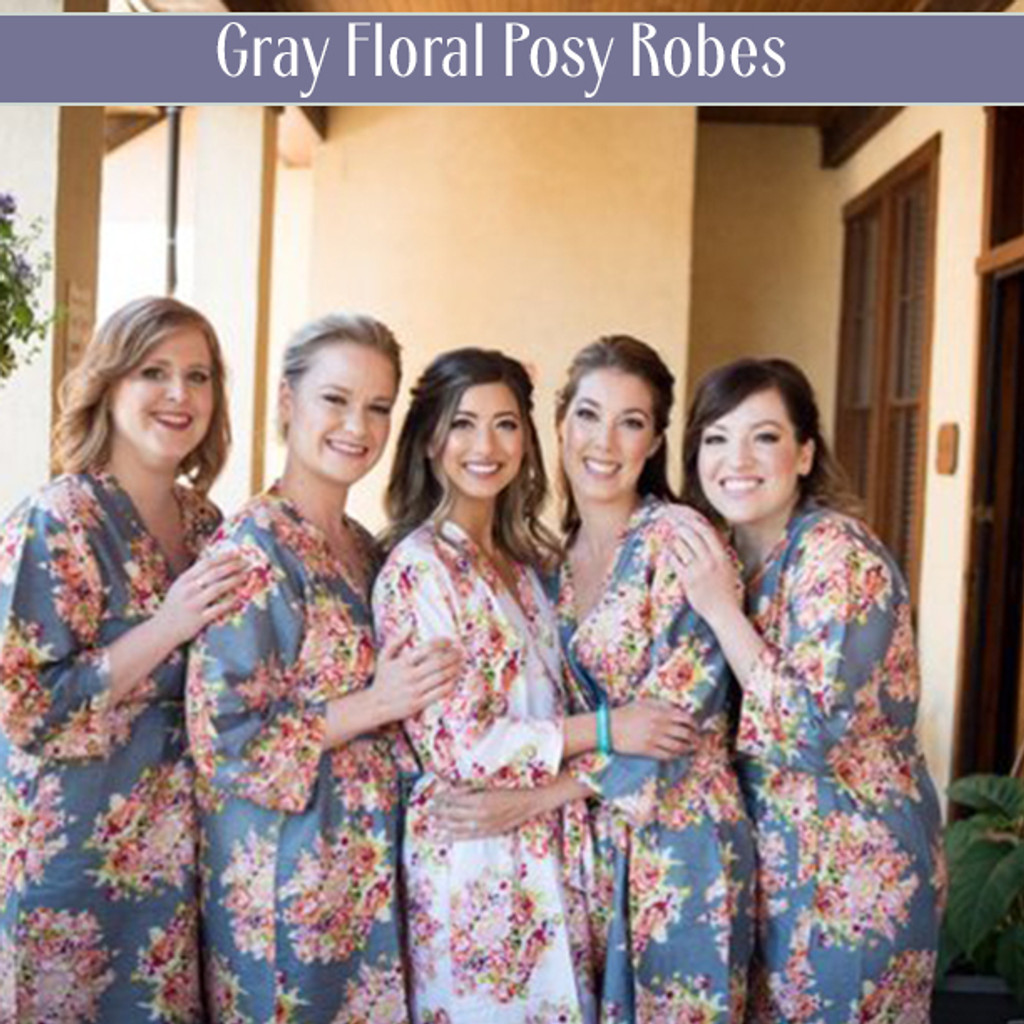 Set of 5 Bridesmaids Robes- Floral Posy in Eggplant