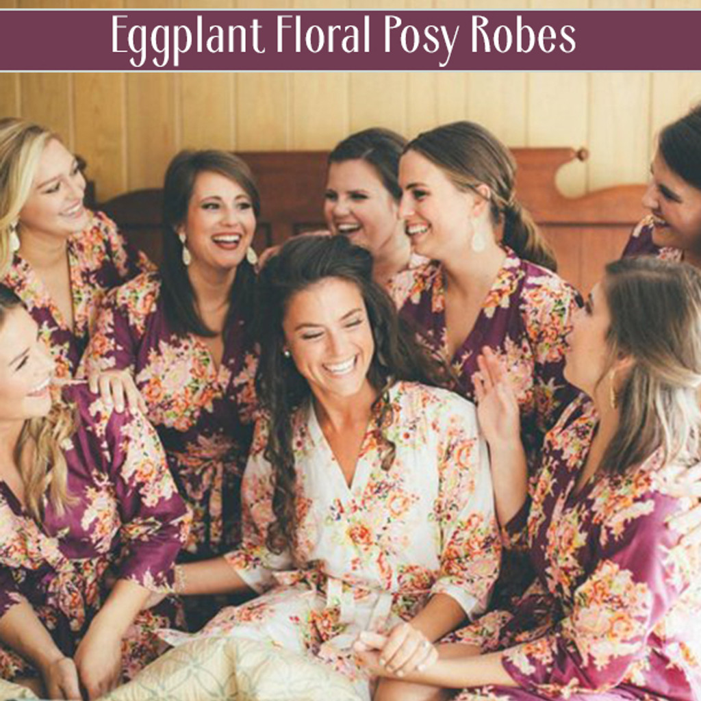 Set of 7 Bridesmaids Robes- Floral Posy in Eggplant