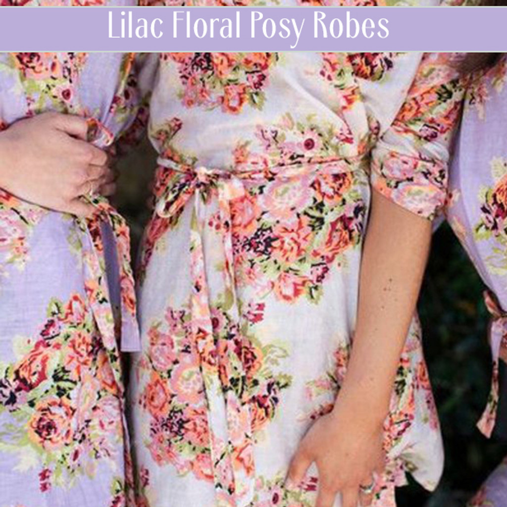 Set of 3 Bridesmaids Robes- Floral Posy in Eggplant