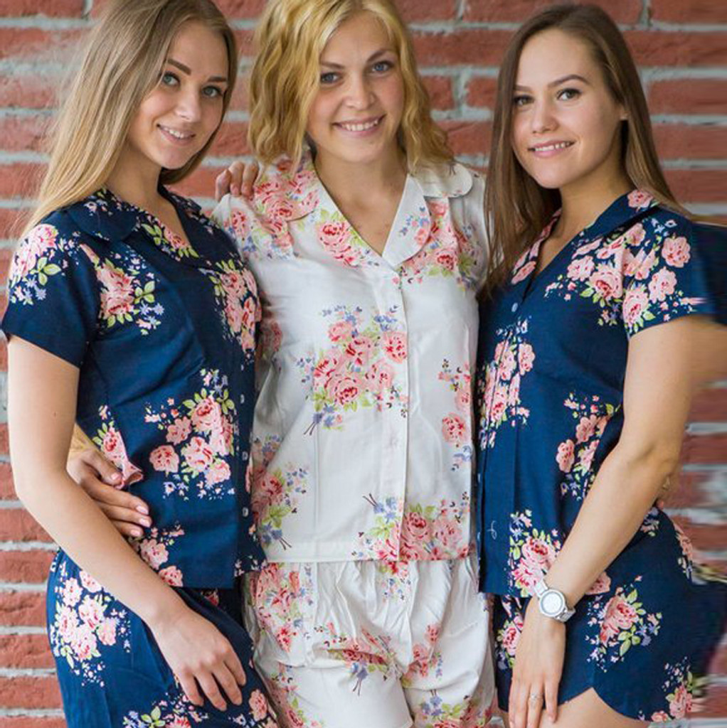 Navy Blue  Notched Collar Style Pj Sets in Faded Flower Pattern