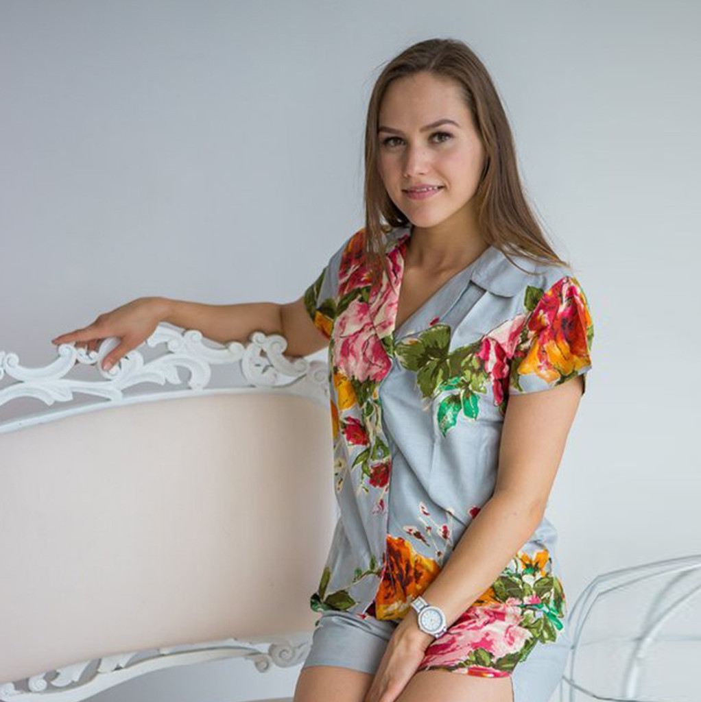 Silver Notched Collar Style Pj Sets in Large Flower Blossom Pattern