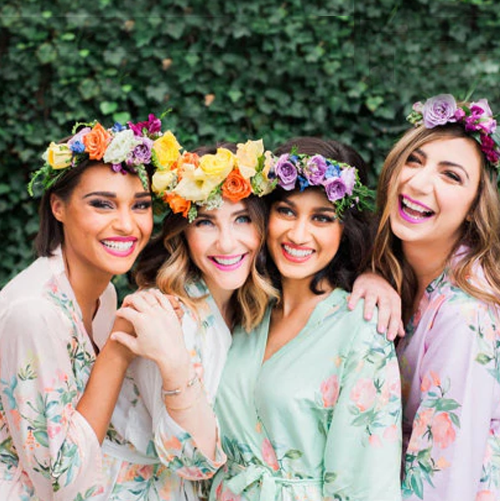 Dreamy Angel Song pattern,  floral Bridesmaids robes