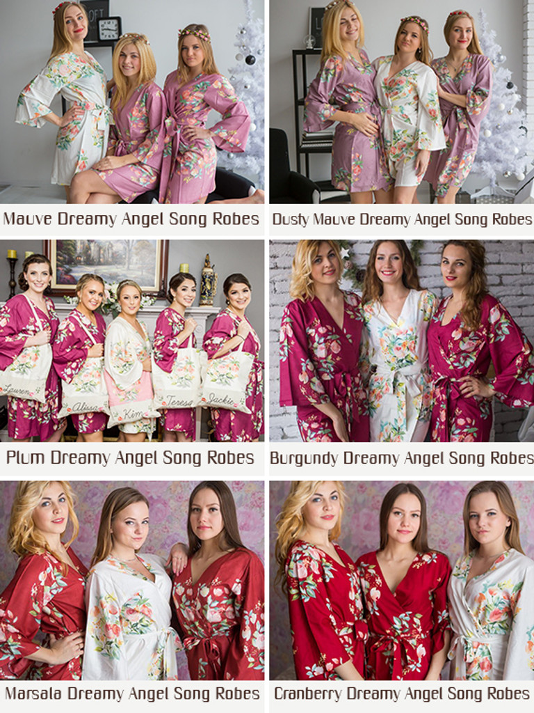 Set of Bridesmaids Robes in Dreamy Angel Song Pattern