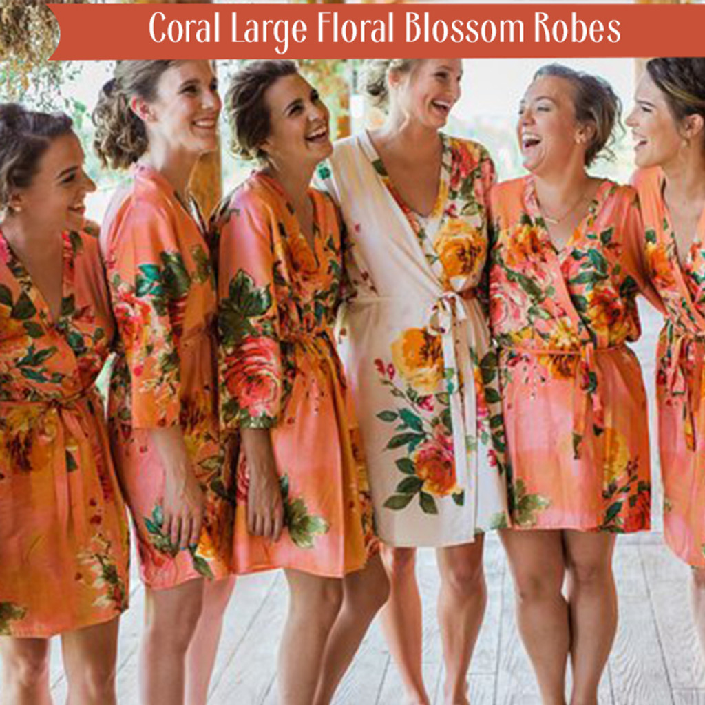 Coral Large Floral Blossom Robes