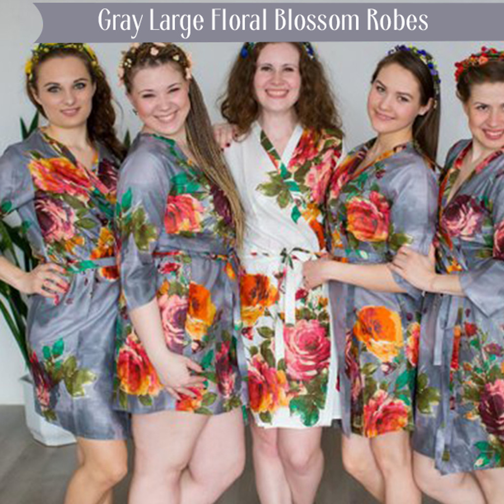 Gray Large Floral Blossom Robes