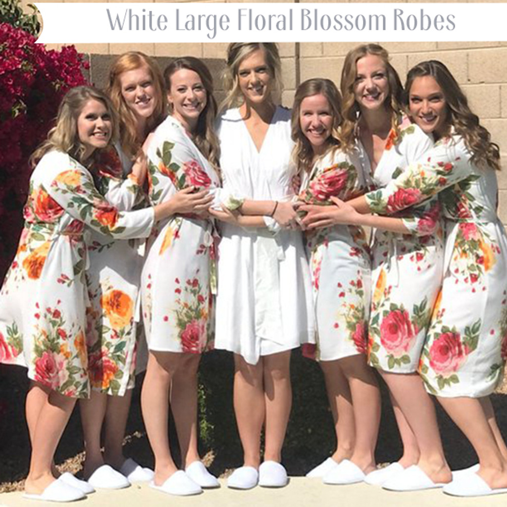 White Large Floral Blossom Robes
