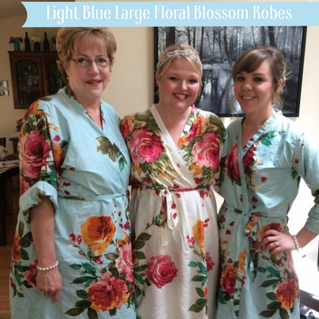 Light Blue Large Floral Blossom Robes
