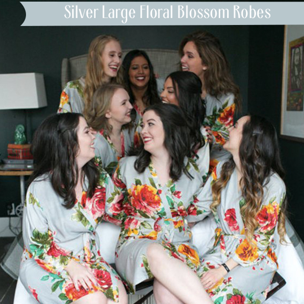 Silver Large Floral Blossom Robes