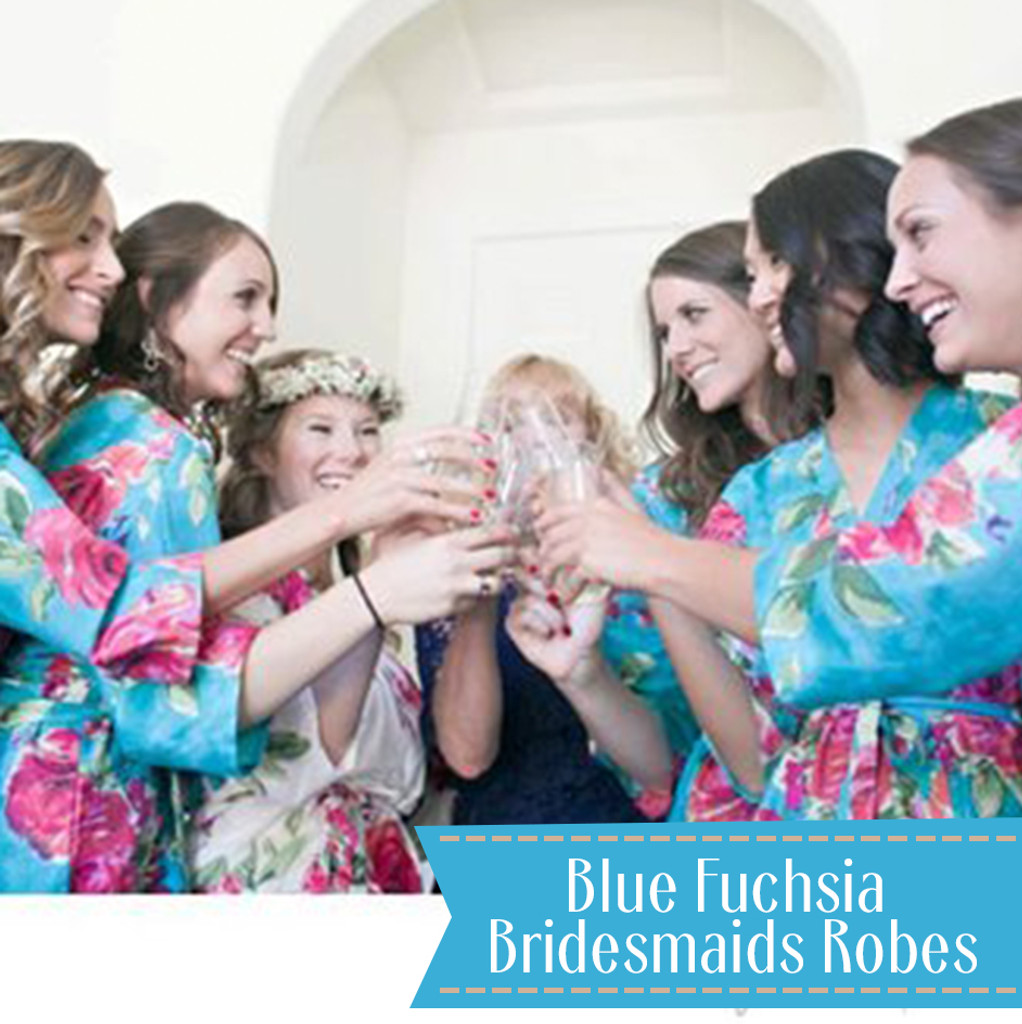 Pink  Large Fuchsia Floral Blossoms  Set of Bridesmaids Robes