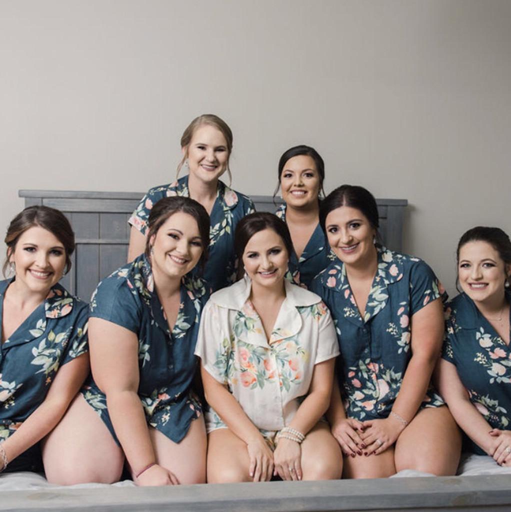 set of 7  bridesmaids pjs, bride and bridesmaids  pj sets
