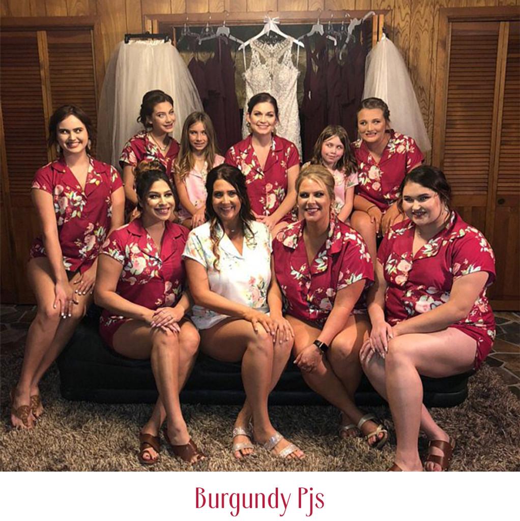 set of 9  bridesmaids pjs, bride and bridesmaids  pj sets