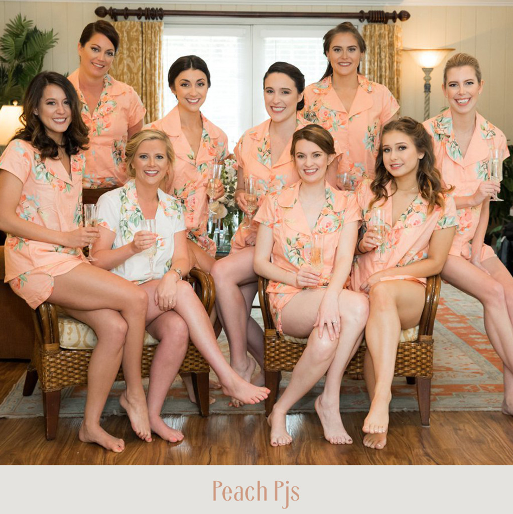 peach color pj sets, set of 9 pj sets