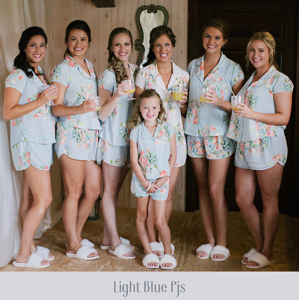 Mismatched Pjs - Dusty Blue, Peach and Mint Pjs