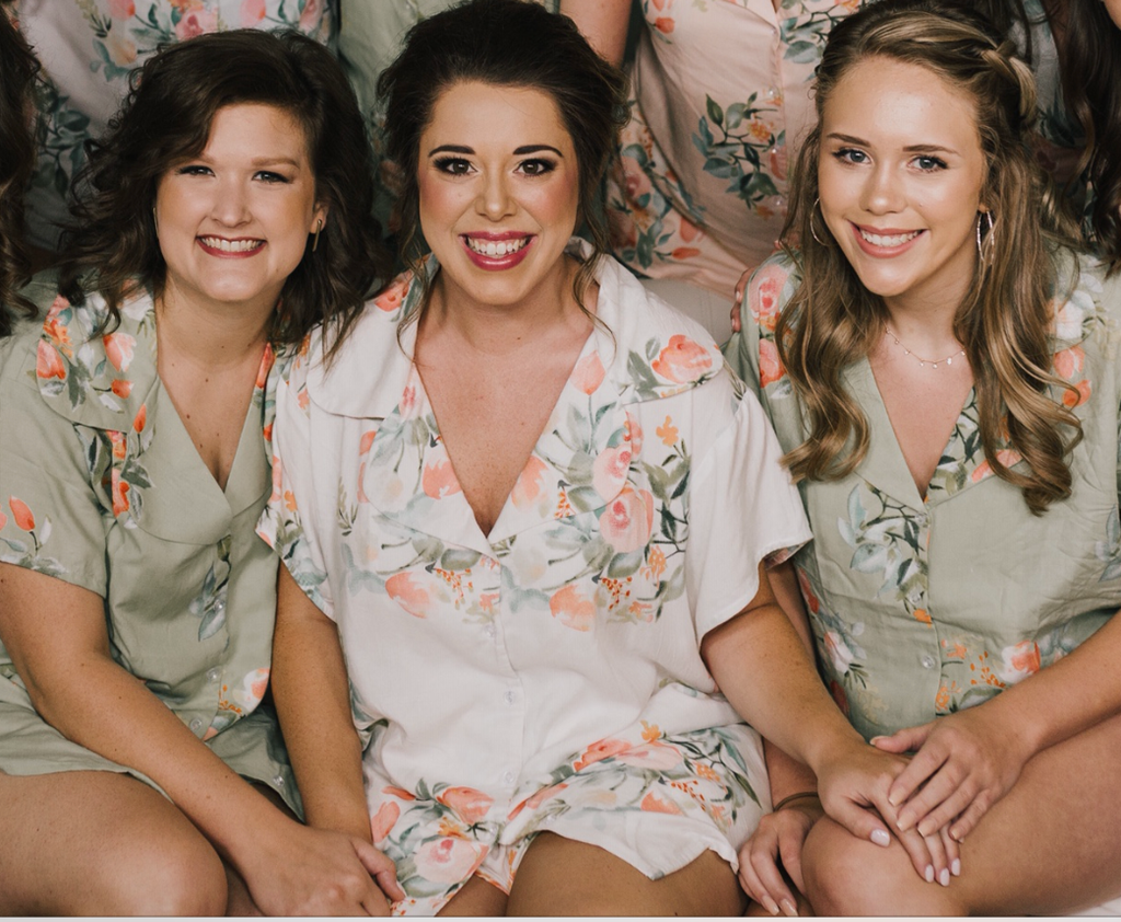 Grayed Jade bride and bridesmaids  pj sets