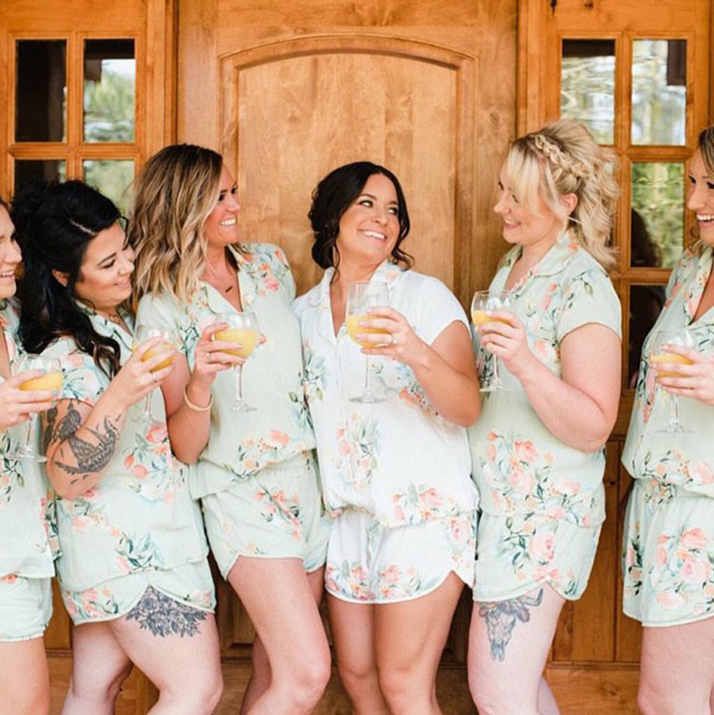 Soft Mint Dreamy Angel Song Bridesmaids PJ Set