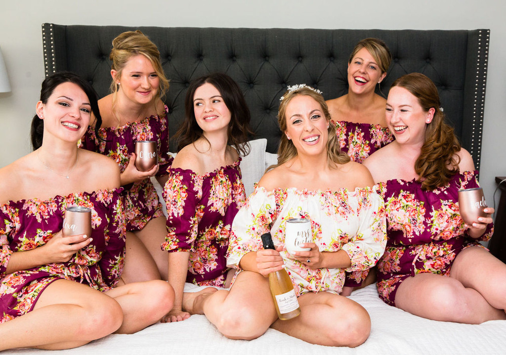 Burgundy Off the shoulder Style Floral Posy Bridesmaids Rompers Set