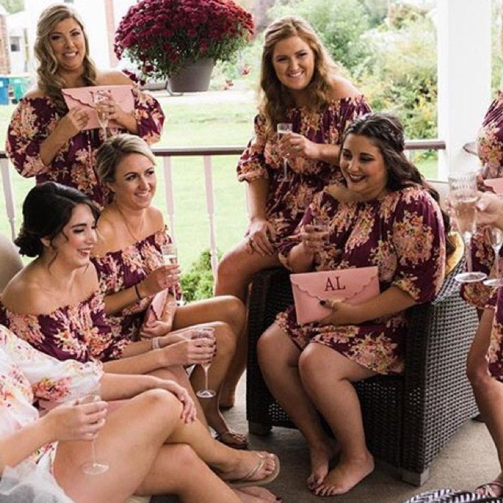 Eggplant Off the shoulder Style Floral Posy Bridesmaids Rompers Set