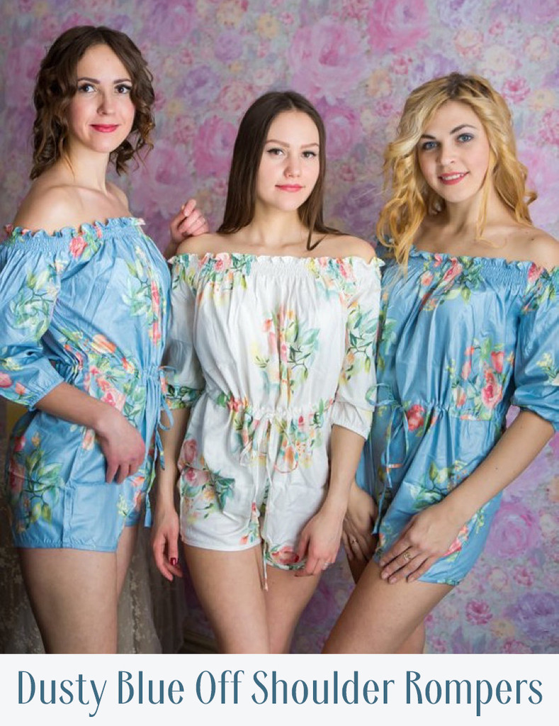 Light Blue And Coral Off the shoulder Style Dreamy Angel Song Bridesmaids Rompers Set