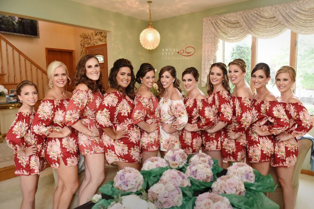 Maroon Off the shoulder Style Floral Posy Bridesmaids Rompers Set