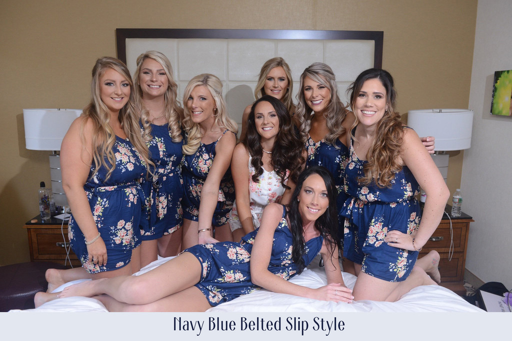 Navy Blue Mismatched Styles Dreamy Angel Song Bridesmaids Rompers Set