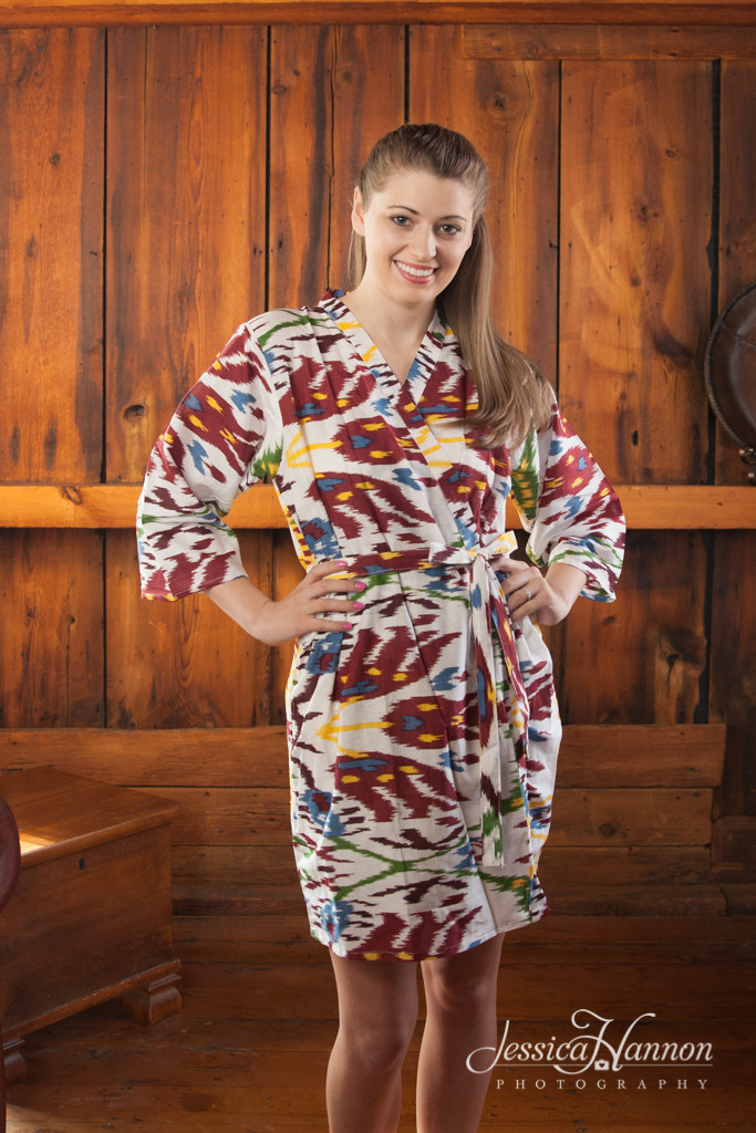 White Maroon Ikat Aztec Robes for bridesmaids | Getting Ready Bridal Robes