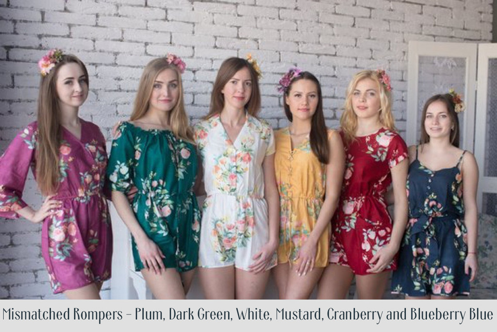 Peacock Blue Mismatched Styles Dreamy Angel Song Bridesmaids Rompers Set
