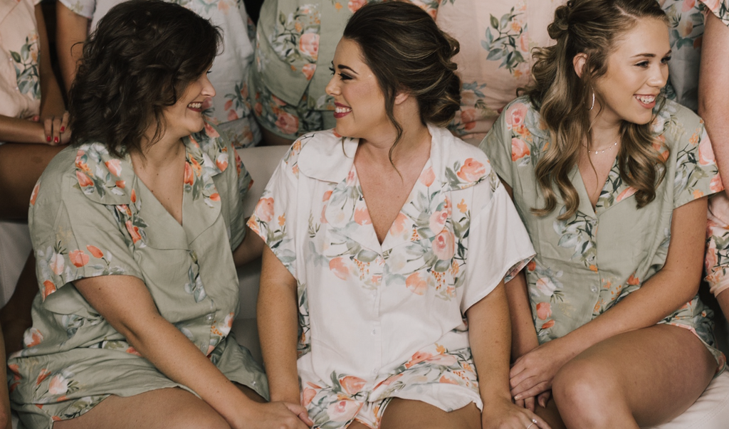 Mismatched Pjs - Grayed Jade and Blush Notched Collar Style PJs in Dreamy Angel Song Pattern