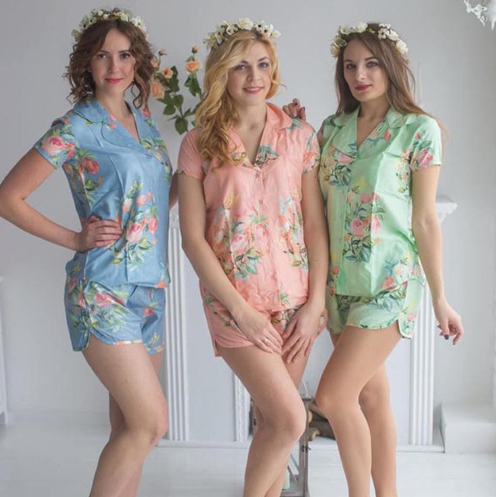 set of 3 bridesmaids pj set,  flower girl pj set