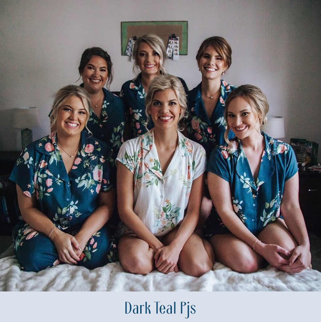 Dusty Blue, Peach and Mint Notched Collar Style PJs in Dreamy Angel Song Pattern