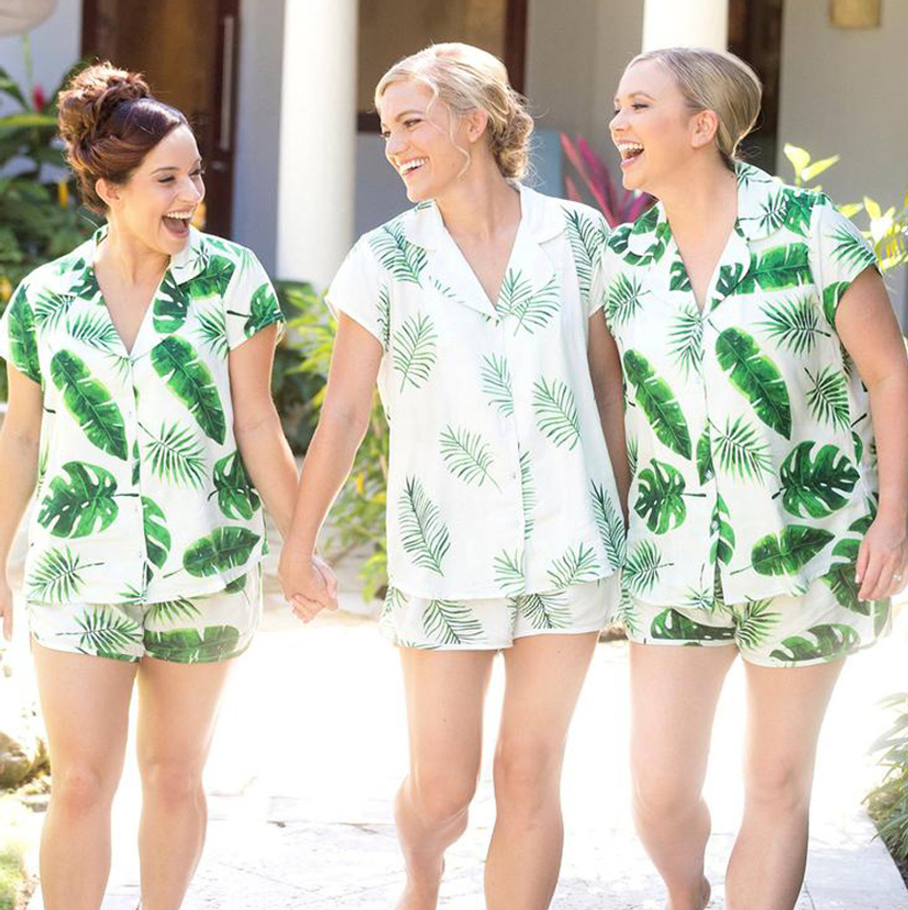 White Notched Collar Style PJs in Fun Tropics Pattern