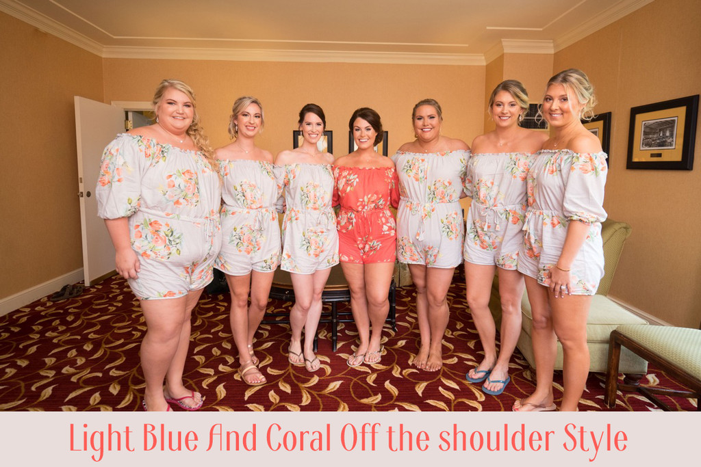 Soft Mint Mismatched Styles Bridesmaids Rompers in Dreamy Angel Song Pattern